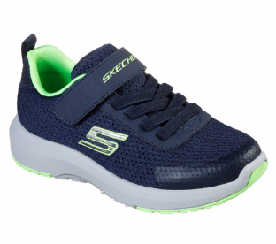 Kids Skechers 98151 NVLM Dynamic Tread Navy Lime Trainers